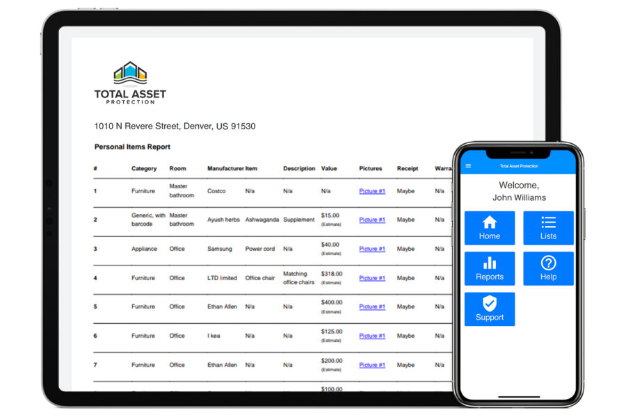 Total Asset Protection (TAP) Mobile and Tablet App for Personal Property Inventory